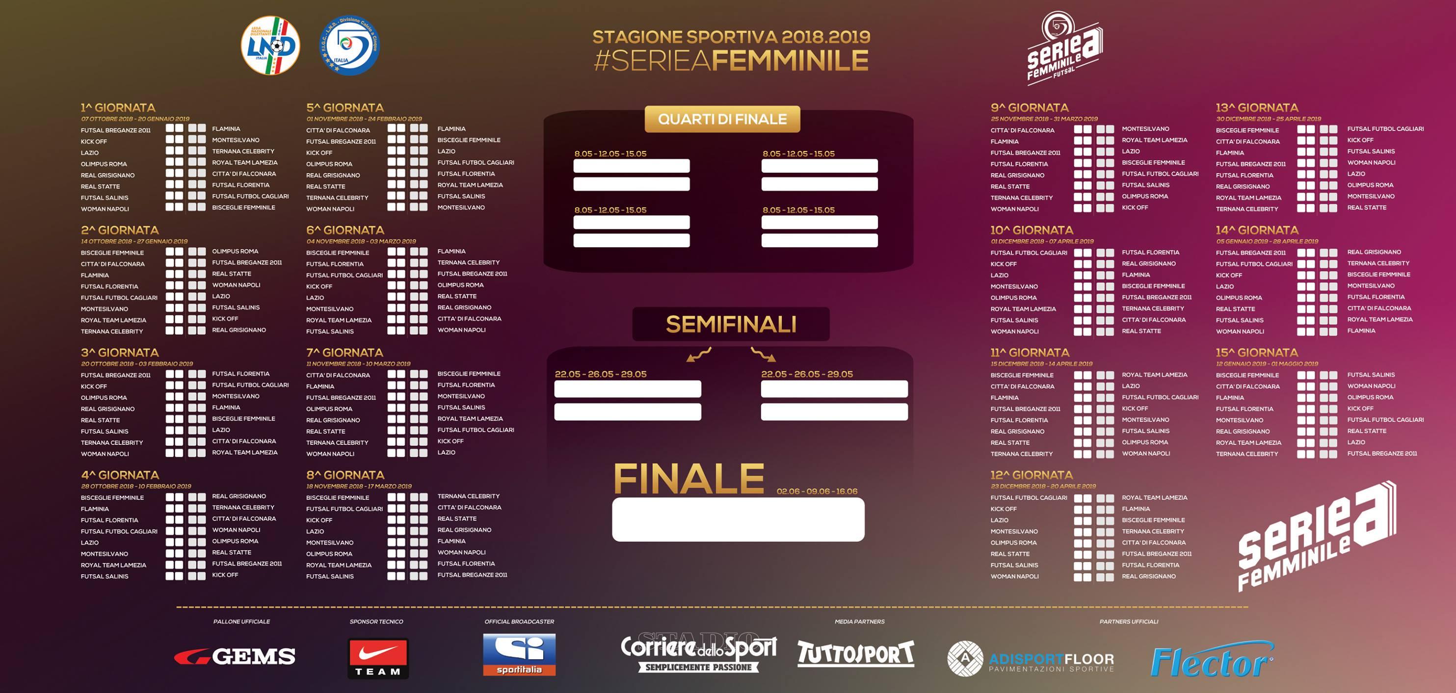 Calendario Esami Roma Tre.Calendario Serie A Femminile 2018 2019 Ogni Maledetta